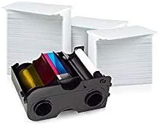 Fargo 45110 Color Ribbon - YMCKOK - 200 Prints with Bodno Premium CR80 30 Mil Graphic Quality PVC Cards - Qty 300