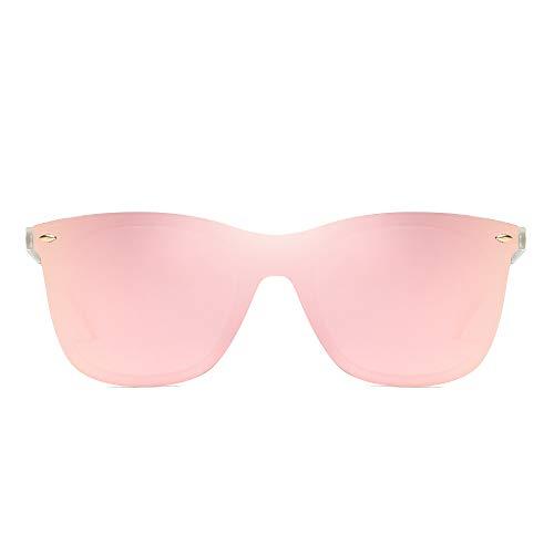 Gafas de Sol de Espejo Sin Marco Una Pieza Sin Montura Anteojos Hombre Mujer(Transparente/Espejo Rosa)