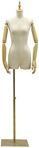 HYFDGV Mannequin Torso Dress Form Mannequin Female Tailors Dummy Dressmakers Dummies Fashion Students Display Bust with Wood Arm Active for Clothing Jewelry Show (Color : A, Size : Medium)