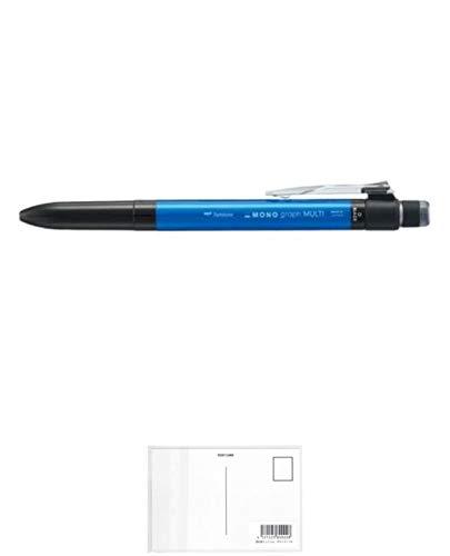 トンボ鉛筆 多機能ペン モノグラフマルチ 2&1 消しゴム付 ブルー SB-TMGE41 【まとめ買い5本セット】 + 画材屋ドットコム ポストカードA
