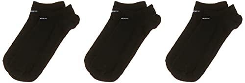 Nike 3PPK Value No Show - Calcetines de deporte, multicolor, negro y blanco, SX2554, negro, large