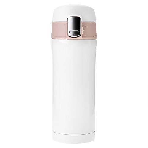 Vacío reutilizable de acero inoxidable Termo con aislamiento Botella de agua Taza de viaje Café Taza de té 350 ml para bebidas frías y calientes Frascos de metal para oficina (Blanco)
