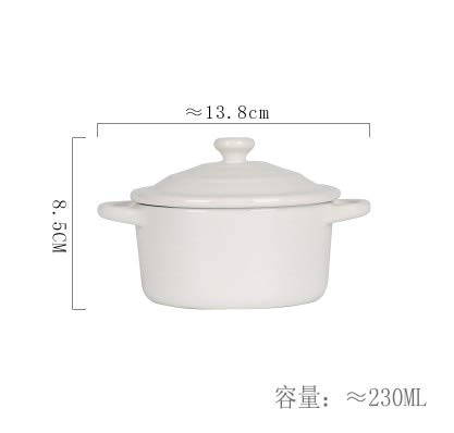 RAP Keuken Bak Mold met Cover Keramisch Servies Oven Soep Bowl Mini Braadpan Waterbestendig Langzame Koker Dessert Bowl Soep Cup Kleur: wit