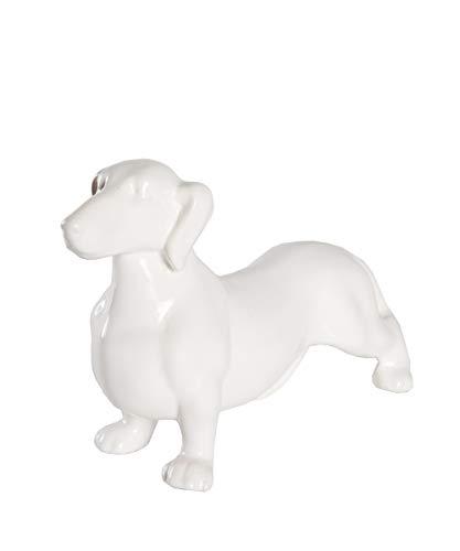 Ceramic Dog Statue - Standing Dachshund (Shiny White)