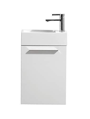 Badezimmer Badmöbel Madrid 40x22 cm Hochglanz weiß - Unterschrank Schrank Waschbecken Waschtisch