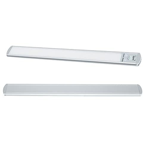 Luce armadio sotto illuminazione armadio,Luce del sensore di movimento a LED,126 LED striscia di luce notturna adesiva wireless ricaricabile dimmerabile tre colori (40 cm) Bianca