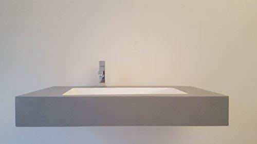 Beton-Optik Waschbecken (Mineralguss) weiß 90cm glänzend