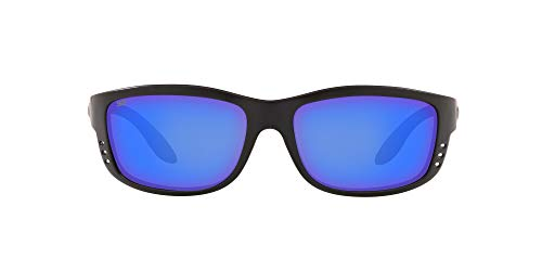 Costa Del Mar Men's Zane Rectangular Sunglasses, Matte Black/Grey Blue Mirrored Polarized-580P, 61 mm