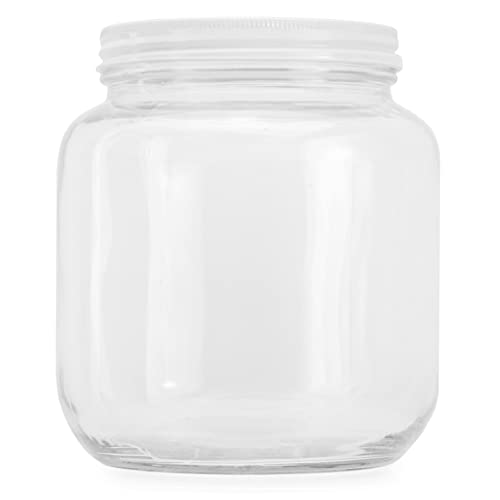 64oz Clear Wide-mouth Glass Jar, BPA free Food Grade w/Metal Lid (Half Gallon); 2 Quart Jar to Make Greek Yogurt/Kefir or Pickles