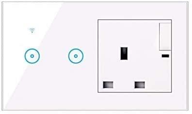 BCDL Interruptor de Pantalla táctil Inteligente, Toma de Pantalla de 16A UK con luz 1/2/3 y Socket Universal de 5 Hoyos con Alexa y Google Home 1127