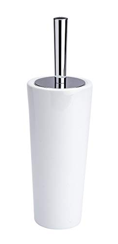 Price comparison product image Wenko Coni Toilet Brush and Holder,  Ceramic / ABS,  White / Silver / Black,  11.5 x 11.5 x 37 cm