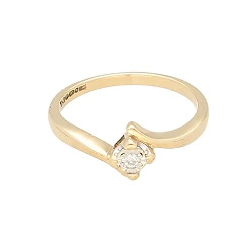 Anillo solitario para mujer de oro amarillo de 9 quilates de 0,05 quilates con ilusión de diamantes (tamaño K 1/2) 4 x 4 mm | Anillo de lujo para mujer