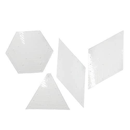 FITYLE 4 Unids/Set Plantilla de Regla de Acolchado Transparente Herramientas de Encuadernación de Costura para álbumes de Recortes