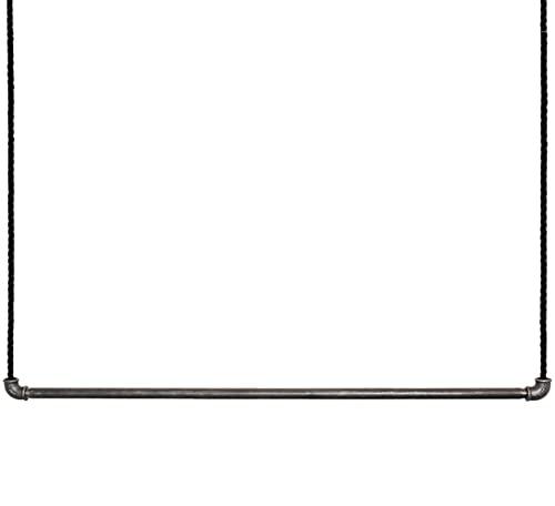 craftwerk11 - Appendiabiti da soffitto Raw   Tubo in metallo con corda a vela   Asta appendiabiti, montaggio a soffitto   Vintage Industrial   non rivestito, sospeso e regolabile in altezza (107 cm)