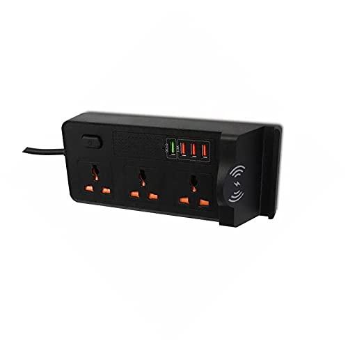 GYL Multipresa, Multipresa Elettrica con USB Ciabatta con 3 Prese Elettriche E 4 Porte di Carica USB Un Interruttore di Controllo con Protezione da Sovraccorrente 2500W 20W 5V 3.4A Cavo 2M, Nero