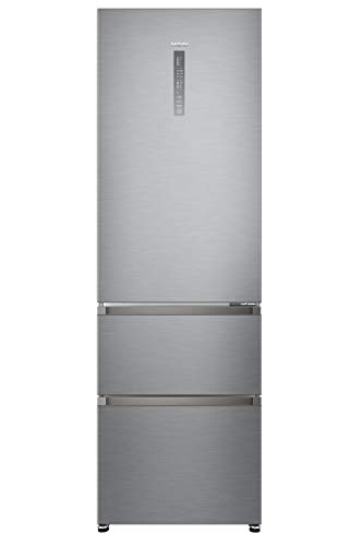 Haier A3FE735CGJE nevera y congelador Independiente Acero inoxidable 330 L A++ - Frigorífico (330 L, Antiescarcha (nevera), SN-T, 12 kg/24h, A++, Acero inoxidable)