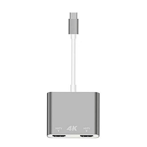 Gigicloud Adaptador HD USB C a Dual HDMI para Ordenador, Tablet y Teléfono Móvil Gris