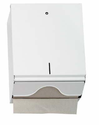 Papierhandtuchspender metall 600 Blatt CC-Falz ZZ-Falz abschließbar weiß
