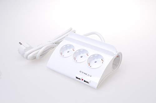Toolzy 101620 - Juego de 5 enchufes de mesa con 2 puertos USB y 5 enchufes Schuko