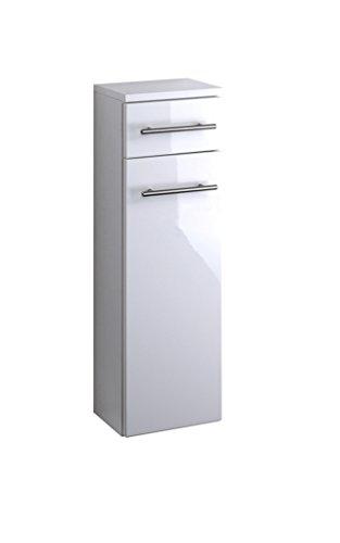 lifestyle4living Badezimmerschrank in Weiß, Hochglanz, schmal | Halbhoher Unterschrank mit 1 Tür, 1 Schubkasten und 1 Einlegeboden