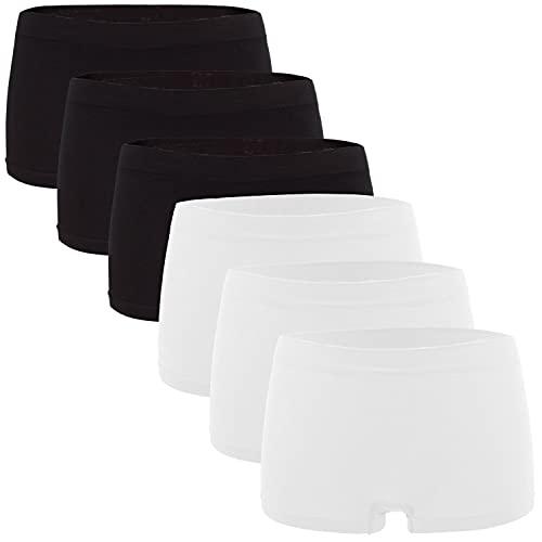 Fabio Farini Damen Panties 6er Pack Hipsters Boxershorts nahtlos, Seamless aus weichem Microfaser-Gewebe 3X Weiß/3x Schwarz L-XL