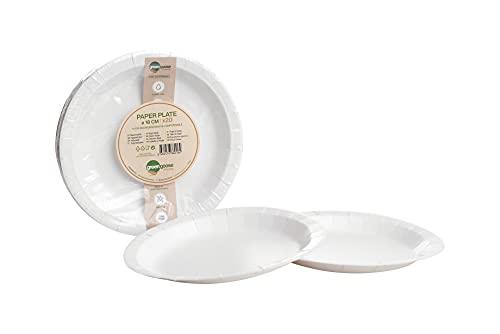 Platos de papel 20 unidades, diámetro 18 cm, biodegradables, compostables, desechables, vajilla de cartón