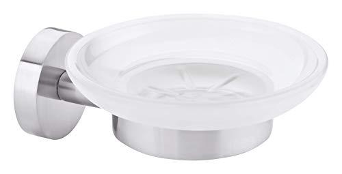 tesa MOON Wandseifenschale, Edelstahloptik, satinierte Glasablage, inkl. Klebelösung, hält bis 6kg, 128 mm x 109 mm x 53 mm