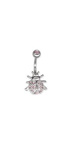 Zilveren navelpiercing kever Beetle - met Swarovski Elements - SBB06 amethist roze