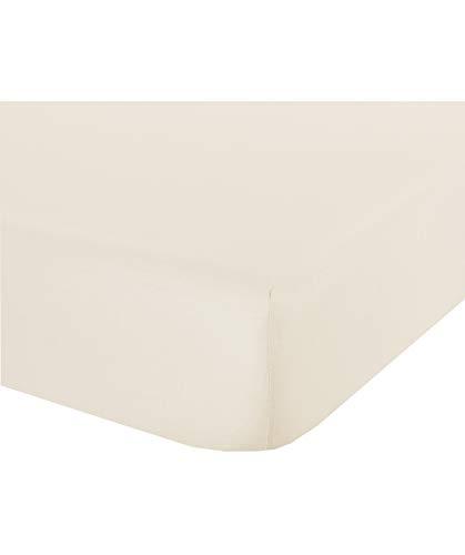 Novilunio - Sábana bajera con esquinas de algodón, fabricada en Italia, para cama de matrimonio natural