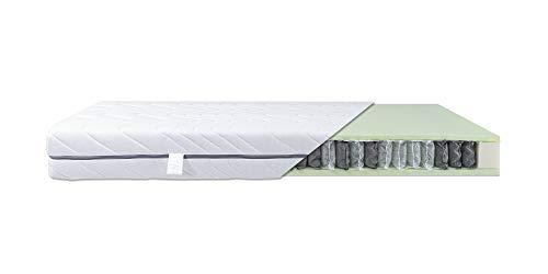 SMARTSLEEP Komfort TFK 7-Zonen Taschenfederkernmatratze mit 500 Federn, atmungsaktiv & geruchsneutral mit waschbarem Bezug, H2- Weich bis zu 80 kg, Öko-Text 100 Zertifiziert - 90 x 200 cm