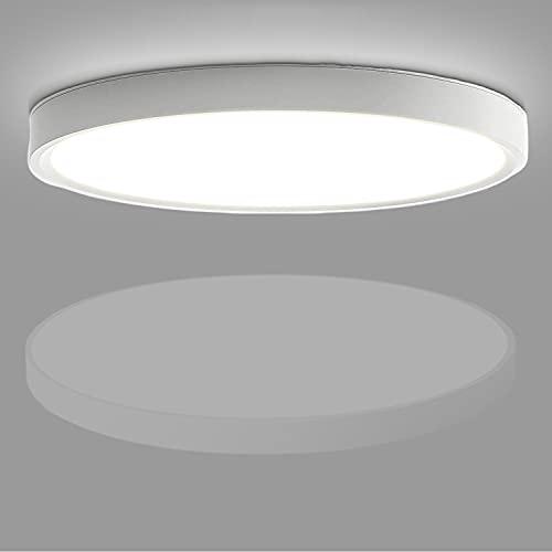 Kimjo LED Lámpara de Techo 24W, Blanco Frío 6500K 2160LM Plafón de Techo Redondo Ø23cm Plafones de Techo Modernos, Iluminación de Techo para Oficina Cocina Dormitorio Habitaciones, No Regulable