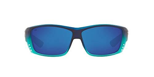 Costa Del Mar Men s Cat Cay Polarized Rectangular Sunglasses, Matte Caribbean Fade Grey Blue Mirrored Polarized-580G, 61 mm