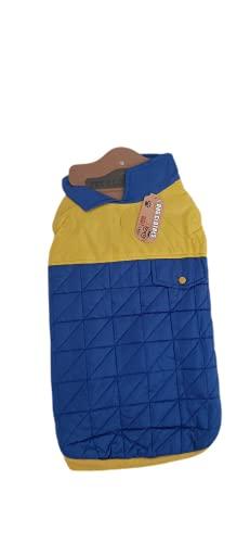Abrigo Impermeable para Perro PetStar, Chaqueta Impermeable para Perro, Ropa de Invierno para Mascotas, Accesorios Animales - Azul y Amarillo - 45 cm