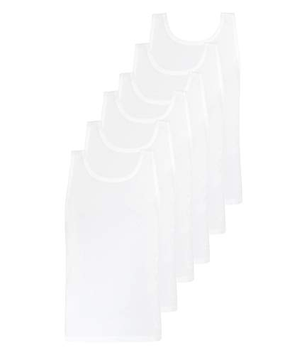 Hugo Boss Herren Tank Tops Unterhemden Pure Cotton Regular Fit 50325406 6er Pack, Farbe:Weiß, Wäschegröße:L, Menge:6er Pack (2X 3er), Artikel:50325387-100 White