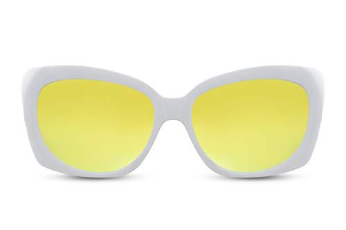 Cheapass Gafas de Sol Blancas Rectangular Mariposa Mujer Gafas de Sol Espejadas