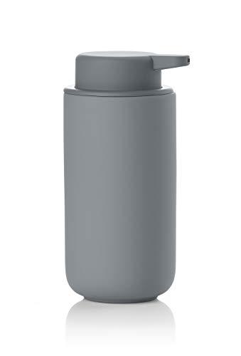 Zone Denmark Ume Seifenspender/Seifenpumpe aus Steingut mit Soft Touch-Beschichtung, extra großes Fassungsvermögen (450 ml), grau