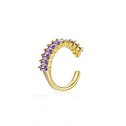 YFZCLYZAXET Pendientes Mujer Clip De Oreja De Circonita De Círculo Grande Único De Plata, Pendiente De Aro Multicolor En Forma De C De Diamante Salvaje, Pendiente Femenino Púrpura
