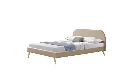 Polsterbett mit Matratze 140x200 cm Leinen mit Kaltschaummatratze Doppelbett Jugendbett mit Lattenrost Stoffbett Creme