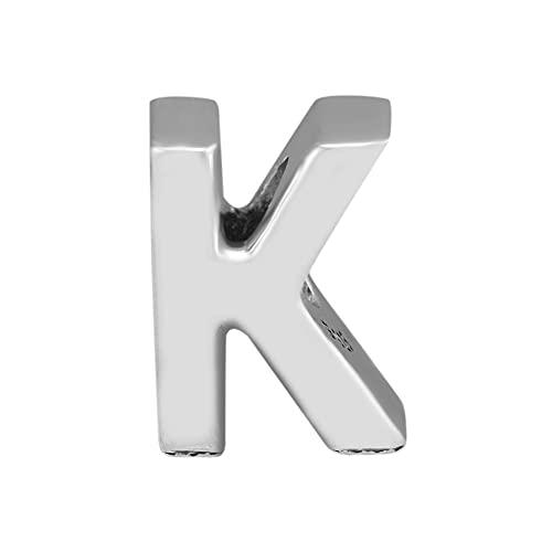 Joyería De Plata De Ley 925 para Mujer Abalorios con Letra K Se Ajustan A Pulseras Pandora Europeas Collares Fabricación De Joyas DIY