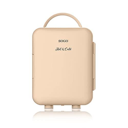 SOGO SS-465 Hot&Cold Mini Nevera Portátil Eléctrica Casa/Coche/Viaje, Frío o Calor, Alimentador Enchufe y Encendedor Coche, Capacidad 4L, color melocotón/beige