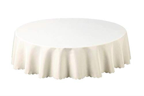 Shell 54 Inch (137cm) Round Tablecloth. Plain 100% Polyester Linen Look Weave and Scalloped edge. Stain Resistant, Non-Iron, Machine Washable Table Cloth (Cream (31668))