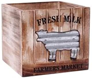 Hosley 7.5 Inch Galvanized Cow Milk Country Americana Pattern Planter Ideal for Wedding or Special Occasion or for Dried F...