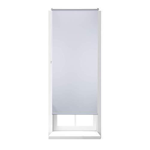 Relaxdays Estor Opaco Enrollable sin Taladrar, Tela-Aluminio, Ancho Tejido 86 cm, 90 x 210 cm, Blanco