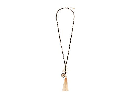 GUESS Woven Chain Necklace with Tassels and Charms Gold/Jet One Size