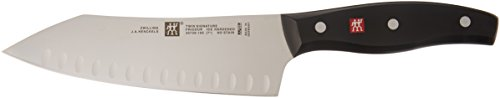 Zwilling J.A. Henckels Twin Signature Chinese Chef Knife, Hollow Edge Rocking Santoku Knife 7 Inch,Stainless Steel, Black