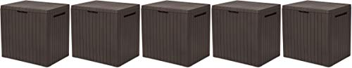 KETER City 30 Gallon Resin Deck Box for Patio Furniture, Pool Accessories, and Storage for Outdoor Toys, Brown (Fivе Расk)