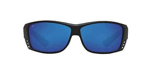 Costa Del Mar Men's Cat Cay Polarized Rectangular Sunglasses, Blackout/Grey Blue Mirrored Polarized-580G, 61 mm