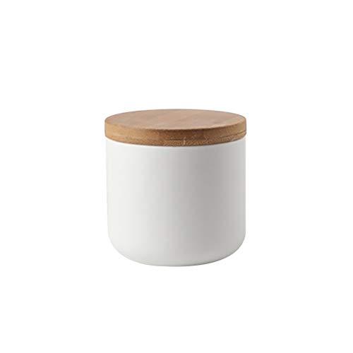 BESTONZON Keramikdose versiegelter Behälter Lebensmittelbehälter mit Holzdeckel für lose Tee, Kaffee, Bohnen, Zucker, Gewürze, Weiß