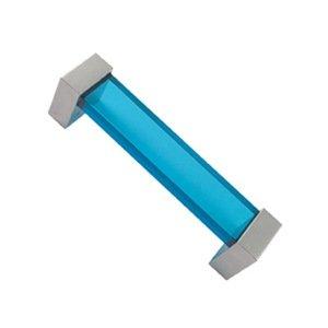 Möbelgriff Polymethylmethacrylat blau glanz chrom 96mm