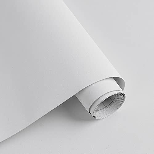 Timeet Weiße selbstklebende Tapete Wasserdichte Möbelaufkleber Abnehmbare weiße verdickte Küchenschrank Aufkleber klebrige Rückseite Kunststoff Oberfläche für Wohnzimmer Schlafzimmer40cm x 300cm